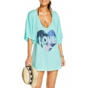 Light Blue V-Neck LOVE Print Half Sleeves Loose Cover Ups