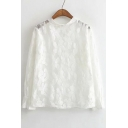 Sheer Jewel Neck Floral Crochet Loose Sleeve Blouse
