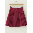 Pleated Plain Button on Side Mini Skirt