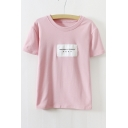 Pink Round Neck Short Sleeve Letter Print Tee