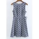 Round Neck Sleeveless Tribal Print A-Line Midi Dress