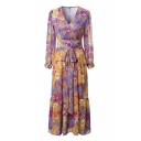 Chic V-Neck Long Sleeve Floral Print Wrap Over Sash Maxi Loose Dress