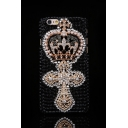 Black Luxury Crown Cross Pattern with Pearls Rhinestone Design Hard Case for iPhone