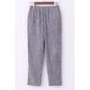 Casual Pialn Corduroy Pocket Embellish Tapered Pants