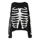 Black Bone Print Round Neck Long Sleeve Sweater