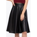 Elastic Waist Black PU /Leather Midi Chic Full Skirt