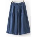 Loose Fit Pocket Capri Wide Leg Jean