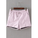Elastic Waist Plain PU&Leather Girls Shorts