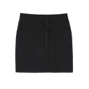 Elastic Waist Plain Cotton Mini Slim Fit Pockets Skirts