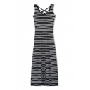 Square Neck Criss Cross Back Straps Maxi Striped Slim Fit Dress