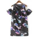 Round Neck Cut Out Shoulder Ruffle Trim Embellish Floral Print Dress