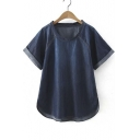 Round Neck Plain Roll Sleeves Denim Tops