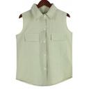 Plain Lapel Linen Double-Pockets Sleeveless Shirt
