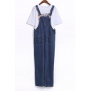 Plain Straps Button Embellish Loose Denim Overall Pants