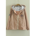 Cute Candy Color Cartoon Embroidery Long Sleeves Hooded Tin Coat Outwear