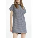 Simple Fashion Lapel Short Sleeve Column Plaid Midi Dress