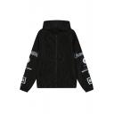 Girls Hooded Zipper Letter Print Coat&Jacket