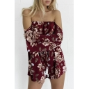 Off The Shoulder Floral Print Bell Rompers
