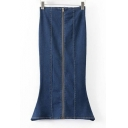 Plain High Waist Zipper Front Trumpet Maxi Denim Skirts