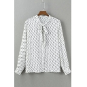 Tie-Neck Polka Dot Long Sleeves Lady's Chic Blouse&Tops
