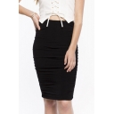 Ruched Sheath Pure Color Skirt