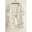 Funny Animal Print Roll Sleeve Button Down Round Neck Blouse