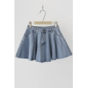 A-line Frayed Hem Denim Mini Skirts