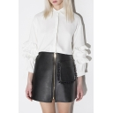 Black Cool PU/Leather Slim Fit Zipper Front Mini Icon Skirts
