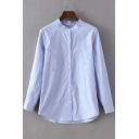 Stand Up Collar Long Sleeve Button Down Plain Blouse&Shirts