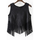 High Quality Round Neck Asymmetrical Tassel Hem Tie-Side Slash Back Plain Tank Top