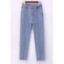 Plain Low Waist Zipper Fly Fray Hem Crop Jeans