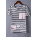 Stripes Character Print Round Neck Short Sleeves T-Shirt