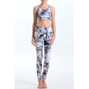 Women's Print Tight-Fitting Scoop Neck Crop Top with High Stretchy Yoga Leggings Co-ords
