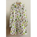Spring Lapel Long Sleeves Colorful Trees Animals Print Loose Dress