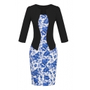 Notched 3/4 Sleeve Floral Print Bodycon