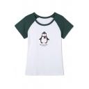 Raglan Sleeves Cartoon Print Round Neck T-Shirt