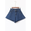 High Waist A-Line Plain Loose Denim Culottes &Shorts