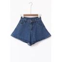 High Waist A-Line Plain Loose Denim Culottes &Shorts