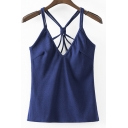 Sexy V-Neck Plain Criss Cross Back Camisole &Tank Top