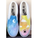 Hand-Painted Chi's Canvas Round Toe Sneakers For Girls