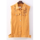 Plain Lapel Cotton Destoryed/Ripped Button Faux Pockets Embellish Cargo Vest&Coat