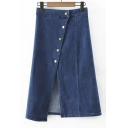 Plain High Waist Button Fly Split Front Elastic A-Line Maxi Denim Skirts