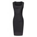 Square Plain Zipper Back Sleeveless Midi Dress