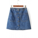 Mini Button Fly Pocket A-Line Denim Skirts