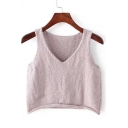 V-Neck Sleeveless Cropped Plain Knit Vest