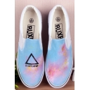 Hand-Painted Sky Scrawl Canvas Platform Sneakers For Women