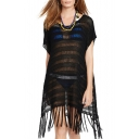 Open-Knit Tassel Hem Scoop Neck Loose Bohemia Cover Ups