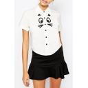 Sweet White Lapel Cartoon Print Short Sleeves Shirt