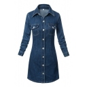 Women's Lapel Buttion-Front Long Sleeves Two Pockets Embellish Denim Dress