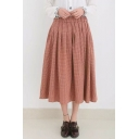 Elastic Waist Plaid Pleat Maxi Girls Skirts